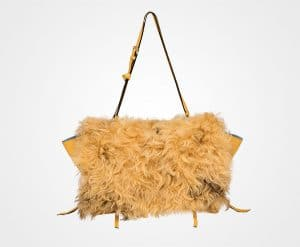 Prada Bright Yellow/Camel Shearling:Leather Etiquette Shoulder Bag