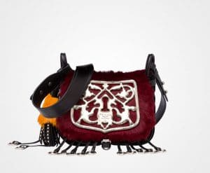 Prada Burgundy/Black Haircalf/Quilted Velvet Corsaire Bag