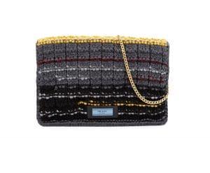 Prada Gray Knit Sweater Etiquette Chain Shoulder Bag