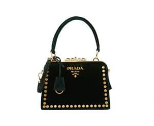 Prada Green Studded Velvet Top Handle Bag