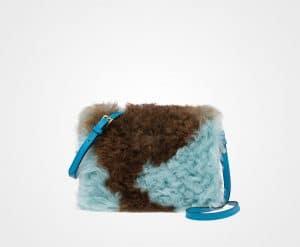 Prada Jade Green/Camel Shearling/Saffiano Light Frame Shoulder Bag