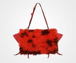 Prada Lacquer Red/Camel Shearling:Leather Etiquette Shoulder Bag