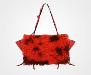 Prada Lacquer Red/Camel Shearling:Leather Etiquette Shoulder Bag