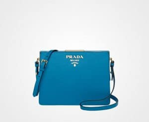 Prada Light Blue Saffiano Light Frame Shoulder Bag