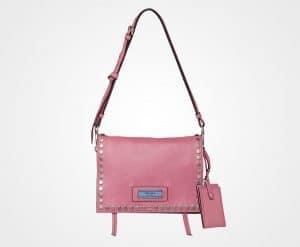 Prada Lotus/Astral Blue Studded Leather Etiquette Bag