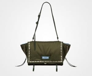 Prada Military Green/Astral Blue Studded Fabric Etiquette Shoulder Bag