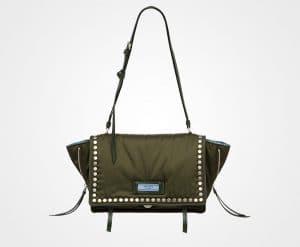 Prada Military Green/Astral Blue Studded Fabric Etiquette Shoulder Bag