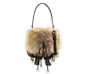 Prada Neutral Calf Leather/Fox Fur Corsaire Bag