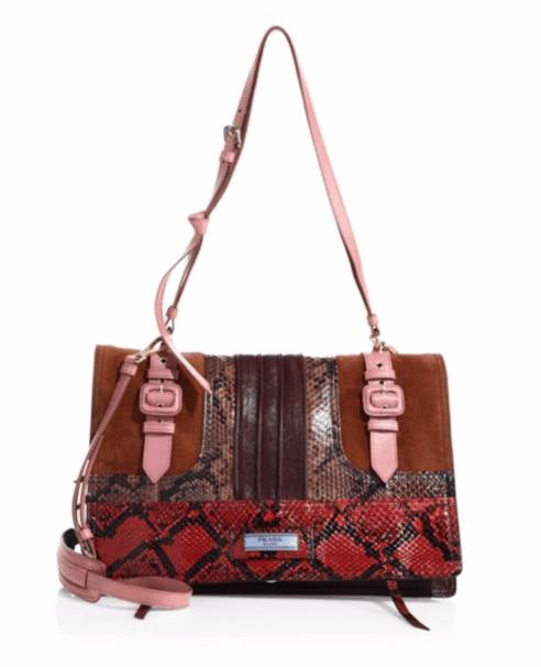 Prada Pattina Leather & Snakeskin Shoulder Bag