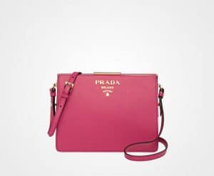 Prada Peony Pink Saffiano Light Frame Shoulder Bag