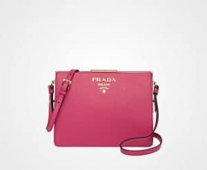 Prada Peony Pink Saffiano Light Frame Shoulder Bag