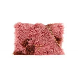 Prada Pink/Brown Shearling Fur Flap Chain Shoulder Bag