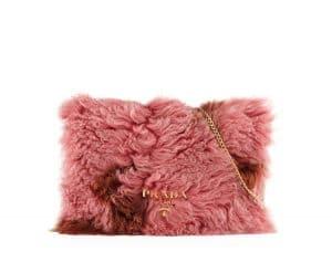 Prada Pink/Brown Shearling Fur Flap Chain Shoulder Bag
