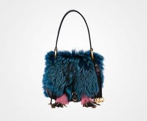 Prada Teal/Black Calf Leather/Fox Fur Corsaire Bag