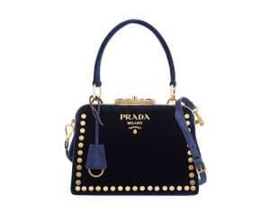 Prada Violet Studded Velvet Top Handle Bag