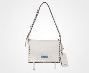 Prada White/Astral Blue Studded Leather Etiquette Bag