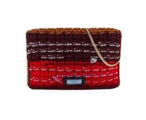 Prada Wine Knit Sweater Etiquette Chain Shoulder Bag
