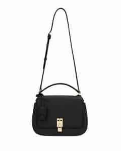 Valentino Black Joylock Flap Messenger Bag