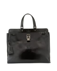 Valentino Black Patent Joylock Medium Top Handle Bag