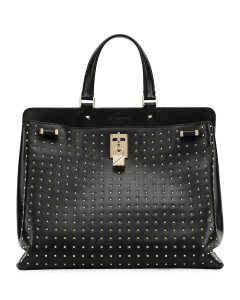 Valentino Black Rockstud Joylock Top Handle Bag