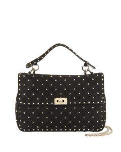 Valentino Black Suede Rockstud Spike Large Top Handle Bag