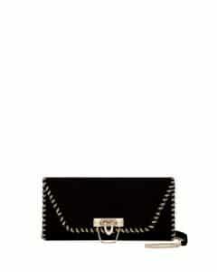 Valentino Black Whipstitch Demilune Clutch Bag