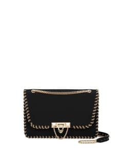 Valentino Black Whipstitch Demilune Small Shoulder Bag