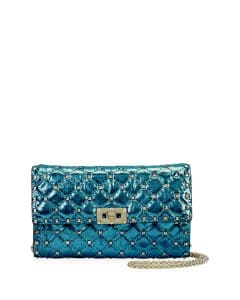 Valentino Blue Metallic Rockstud Spike Shoulder Bag