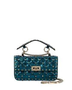 Valentino Blue Metallic Rockstud Spike Small Top Handle Bag