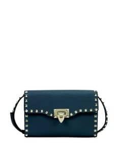 Valentino Blue Rockstud Medium Shoulder Bag