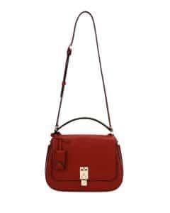 Valentino Dark Red Joylock Flap Messenger Bag
