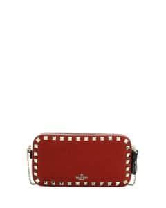 Valentino Dark Red Rockstud Small Chain Shoulder Bag