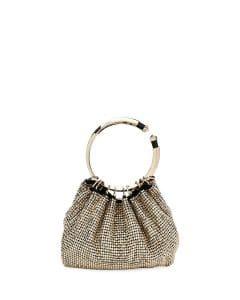 Valentino Gold Metallic Embellished Bebop Ring Clutch Bag