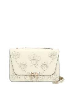 Valentino Ivory Floral Embellished Demilune Shoulder Bag