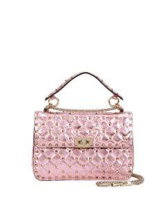Valentino Pink Metallic Rockstud Spike Medium Shoulder Bag