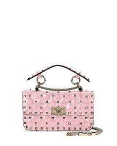 Valentino Pink Metallic Rockstud Spike Small Top Handle Bag