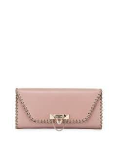Valentino Pink Whipstitch Demilune Clutch Bag