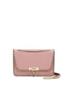 Valentino Pink Whipstitch Demilune Small Shoulder Bag