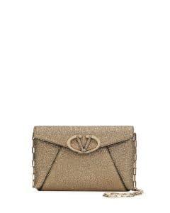 Valentino Platinum Metallic V Rivet Chain Clutch Bag