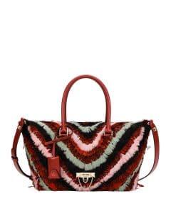 Valentino Red Feather Demilune Medium Double Handle Bag