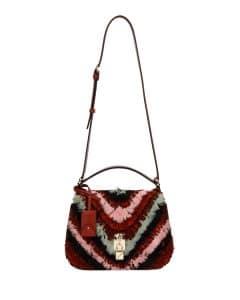 Valentino Red Feather Joylock Flap Messenger Bag