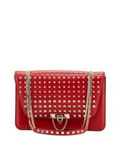 Valentino Red Rockstud Demilune Shoulder Bag