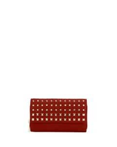 Valentino Red Rockstud Wallet on a Chain Bag