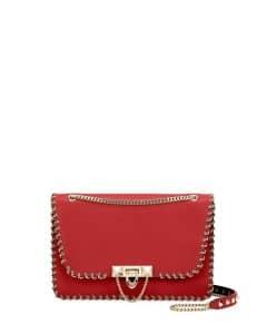 Valentino Red Whipstitch Demilune Small Shoulder Bag