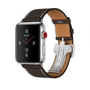 Apple Watch Hermès Stainless Steel Case with Ébène Barenia Leather Single Tour Deployment Buckle