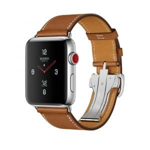 Apple Watch Hermès Stainless Steel Case with Fauve Barenia Leather Single Tour Deployment Buckle
