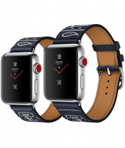 Apple Watch Hermès Stainless Steel Case with Marine Gala Leather Single Tour Eperon d'Or