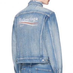 Balenciaga Bleu Navy Balenciaga 2017 Logo Denim Embroidered Jacket