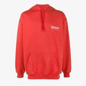 Balenciaga Red Balenciaga 2017 Logo Cotton Terry Hoodie