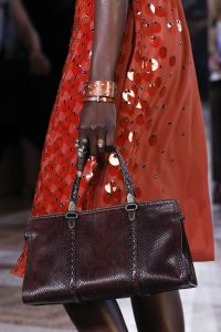 Bottega Veneta Burgundy Python Top Handle Bag - Spring 2018
